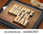 happy birthday greeting card  ... | Shutterstock . vector #664882987