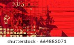 red artistic neo grunge style...   Shutterstock .eps vector #664883071