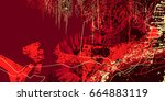 red artistic neo grunge style...   Shutterstock .eps vector #664883119