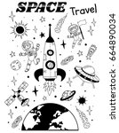 space themed doodle. vector... | Shutterstock .eps vector #664890034