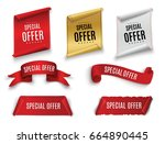 special offer vector ribbon.red ... | Shutterstock .eps vector #664890445