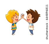 kids high five | Shutterstock .eps vector #664896811