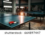 ping pong table  rackets and... | Shutterstock . vector #664897447