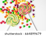 sweets and sugar candies on... | Shutterstock . vector #664899679