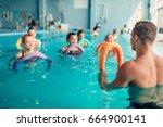 aqua aerobics  women class with ... | Shutterstock . vector #664900141