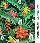 Stock vector background from tropical flowers and leaves 664900699