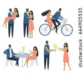 happy couple on a date. set of... | Shutterstock .eps vector #664905535