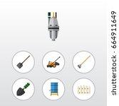 flat icon garden set of tool ...   Shutterstock .eps vector #664911649