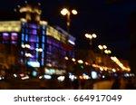 night city lights blur | Shutterstock . vector #664917049