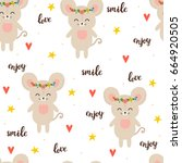 seamless pattern with cute... | Shutterstock .eps vector #664920505