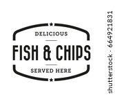 fish and chips vintage stamp | Shutterstock .eps vector #664921831