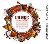 live music concert poster of... | Shutterstock .eps vector #664921897