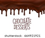chocolate desserts poster with... | Shutterstock .eps vector #664921921