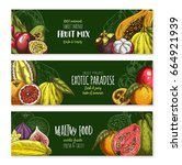 fruits banners of exotic figs ... | Shutterstock .eps vector #664921939