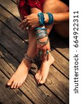 young woman hands and feet with ... | Shutterstock . vector #664922311