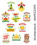 mexican restaurant or fast food ... | Shutterstock .eps vector #664922395