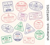 passport travel stamps icons... | Shutterstock .eps vector #664922431