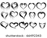 set of heart shape tattoos | Shutterstock .eps vector #66492343