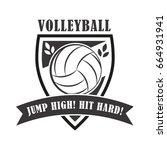 volleyball coach badge ... | Shutterstock .eps vector #664931941