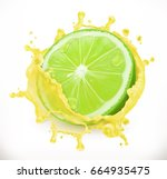 lime juice. fresh fruit  3d... | Shutterstock .eps vector #664935475