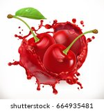 cherry juice. fresh fruit  3d... | Shutterstock .eps vector #664935481
