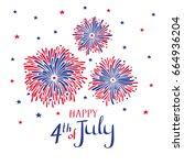 vector hand drawn fireworks for ... | Shutterstock .eps vector #664936204