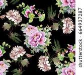 floral tile summer texture... | Shutterstock . vector #664937287