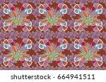 raster flower seamless pattern...   Shutterstock . vector #664941511