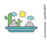 cactus with sun natural aventure | Shutterstock .eps vector #664945897