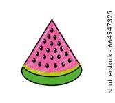 delicios slice watermelon fruit ... | Shutterstock .eps vector #664947325