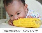 asian baby boy eating corn... | Shutterstock . vector #664947979