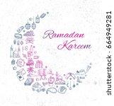 ramadan and eid mubarak... | Shutterstock . vector #664949281