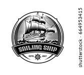 sailing ship vintage... | Shutterstock .eps vector #664953415