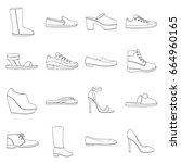 shoes set icons in outline... | Shutterstock . vector #664960165