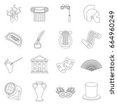 theater set icons in outline... | Shutterstock . vector #664960249
