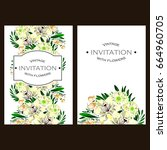 invitation with floral... | Shutterstock .eps vector #664960705