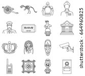 museum set icons in outline... | Shutterstock . vector #664960825
