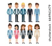 white background full body set... | Shutterstock .eps vector #664961479