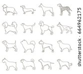 dog breeds set icons in outline ... | Shutterstock . vector #664962175