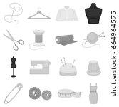 atelie set icons in monochrome... | Shutterstock . vector #664964575