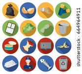 trash and garbage set icons in... | Shutterstock . vector #664964911