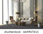 3d rendering classic luxury... | Shutterstock . vector #664967611