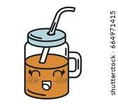 jar with juice fruit kawaii... | Shutterstock .eps vector #664971415