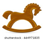 rocking wooden horse on a white ... | Shutterstock .eps vector #664971835