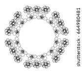 circular frame deoration floral | Shutterstock .eps vector #664980481