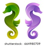 stylized sea horse on a white... | Shutterstock .eps vector #664980709