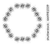 circular frame deoration floral | Shutterstock .eps vector #664981039
