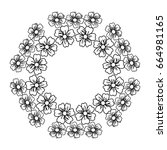 circular frame deoration floral | Shutterstock .eps vector #664981165