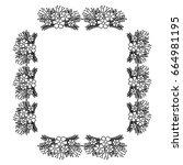 square frame deoration floral | Shutterstock .eps vector #664981195