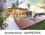 exterior design of spacious... | Shutterstock . vector #664982944